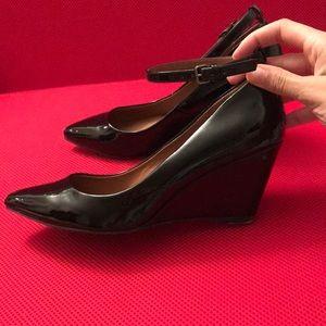 Zara black patent wedge heels